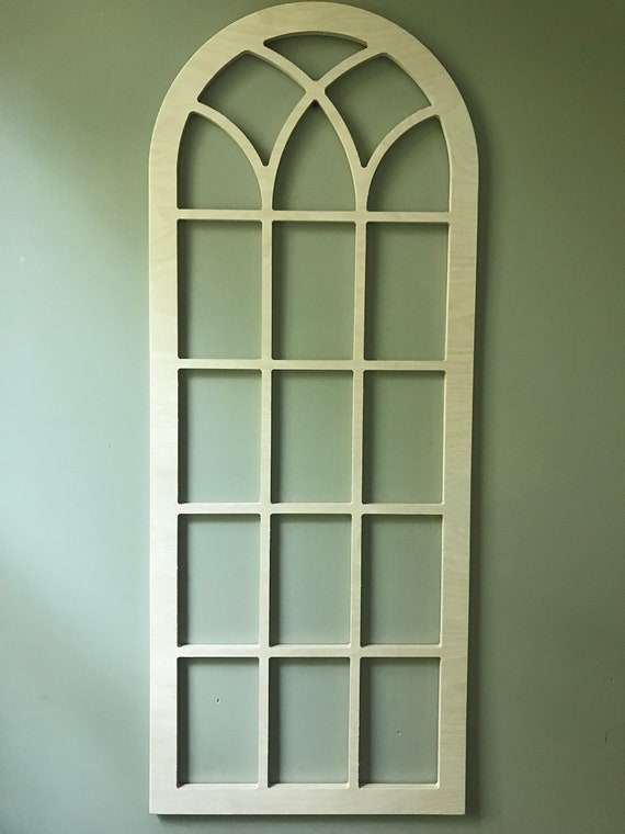 Arched Wood Wall Decor Faux Window Frame Arched Stained Etsy
