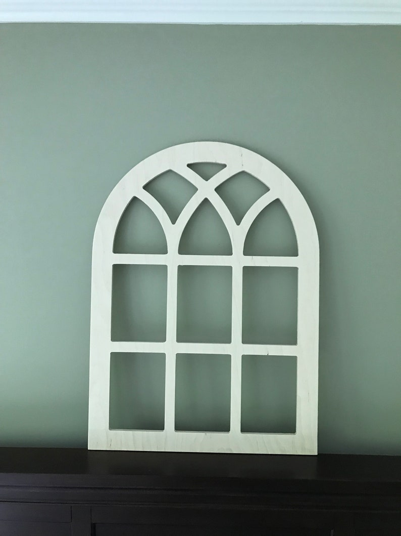 Arched Farmhouse Frame Faux Window Frame Arched Stained Custom Arch Shabby Chic Wall Hanging Wall Decor Shutter Vintage Inspired