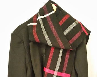 Black, red and white scarf woven