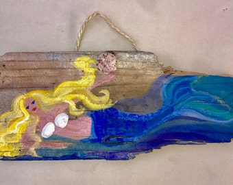 Mermaid painting on barnwood with shells