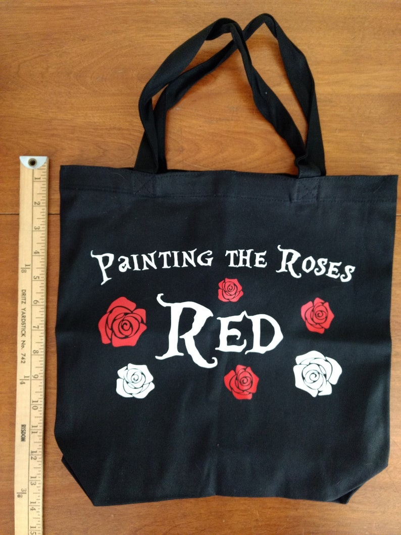 Painting the Roses Red Black Canvas Tote Bag Alice in Wonderland