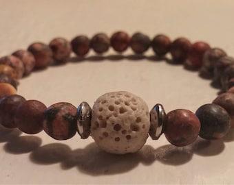 Bracelet with Jasper and lava stones.