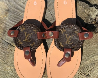 6a74040754e Sandals with Removable Repurposed Louis Vuitton Medallion size 7