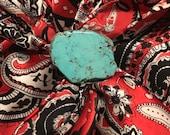 Turquoise Slab Wild Rag Scarf Slide