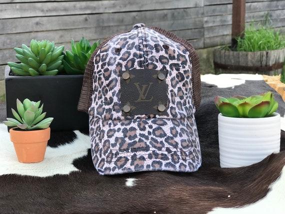 7e888a0141c1c Leopard Baseball Cap with Repurposed Authentic Louis Vuitton