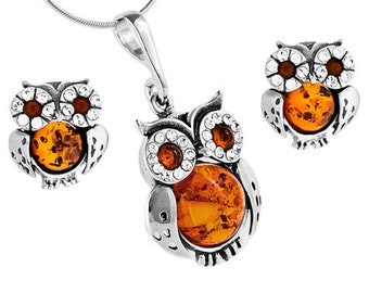 2d720560a85550 Amber jewelry set-amber owl jewelry-sterling silver owl pendant earrings -----028