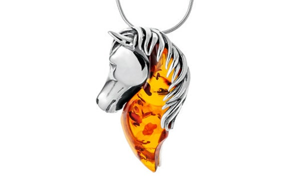 Baltic Amber Horse Head Pendant on Silver 925