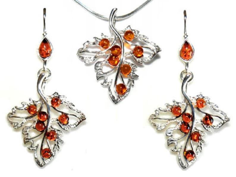 Leaves jewelry set-cognac leaves jewelry-162B
