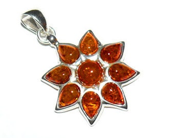 Amber flower necklace-121B