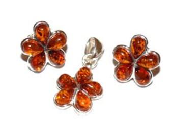 Amber flower jewelry-179B