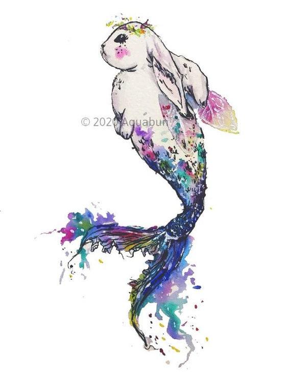 rabbit fantasy fish Rainbow Mermaid Bunny Watercolor Painting Print animal art gift pet cute art for children kids room