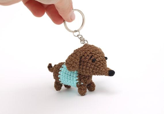 Cute Dog Mom Keychain Preschool Teacher Gifts Best Friend Gifts Long Distance Dachshund Fabric Wristlet Keychain