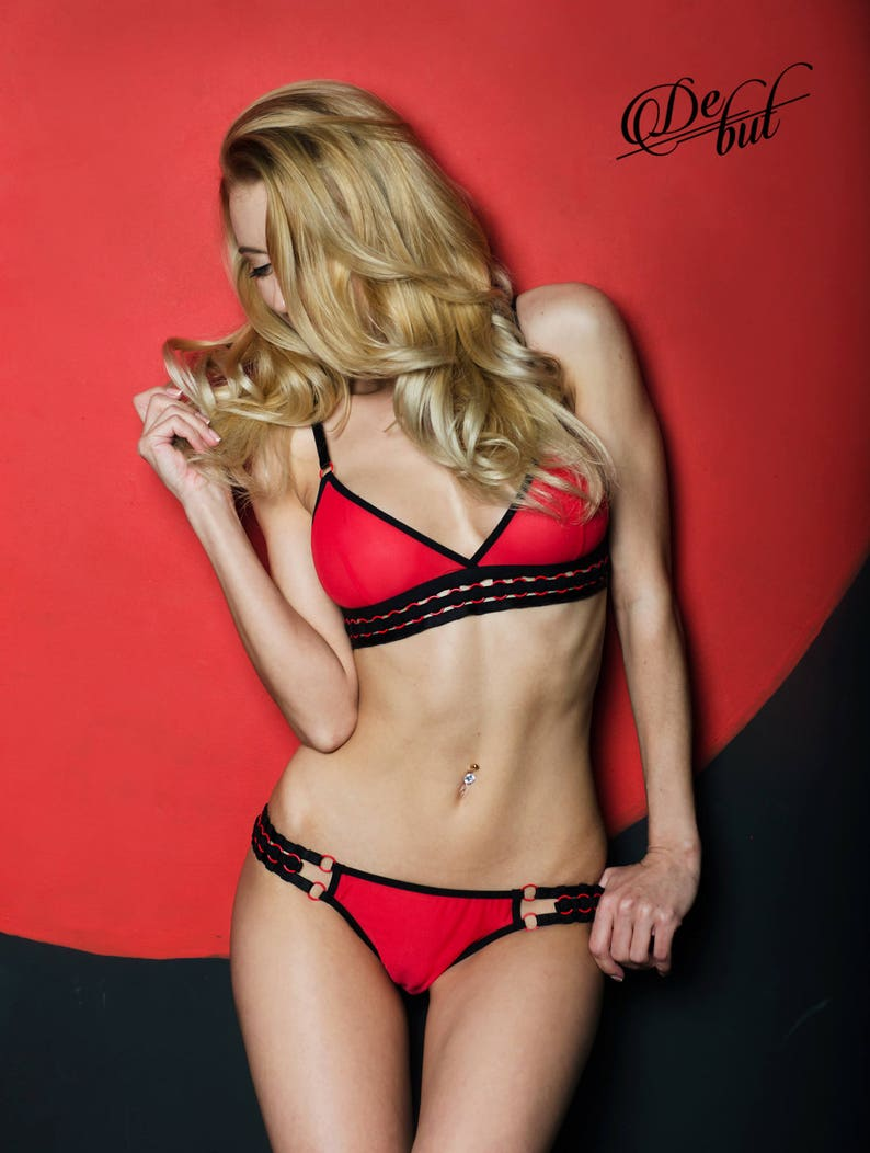 9adc0f9628 Red mesh lingerie set sexy bralette and bikini see through