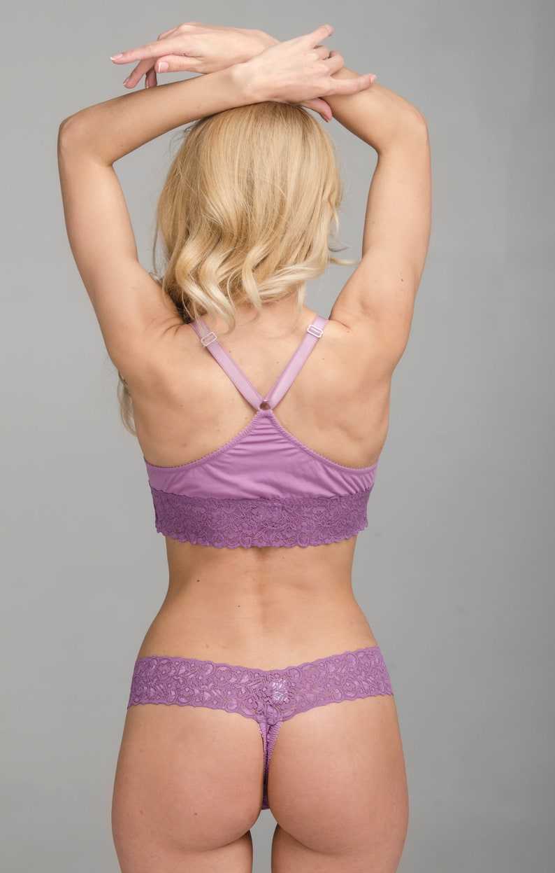 Amelie set of soft cup lining bra and thongs panties lilac bralette and thongs cotton and lace lingerie set
