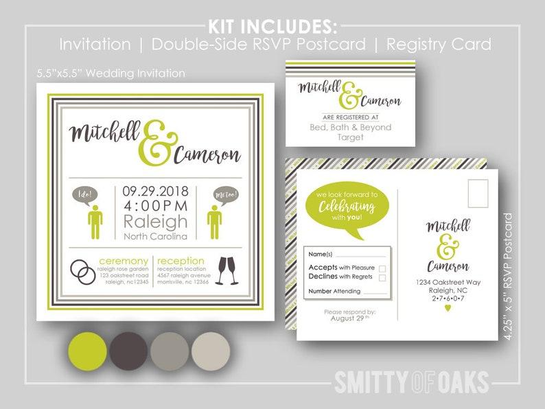 Square Wedding Invitation Kit with RSVP Postcard /& Registry Cards  Designer Love Color Scheme  Custom Simple Fun  PRINTABLE