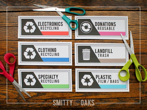picture about Recycle Labels Printable called Recycling, Donation Trash Labels PRINTABLE