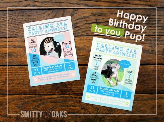 Pet Dog Birthday Party Invitation Printable