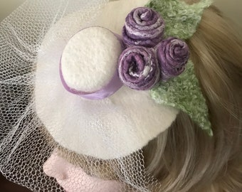 Amusing, coquette hairpin/brooch - wet felted hat with flowers and little veil