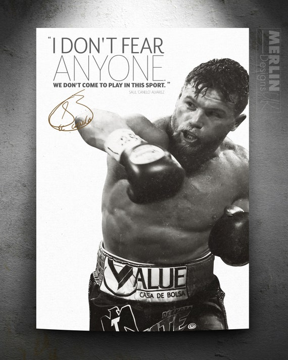 photo poster pre signed Saul Canelo Alvarez quote We don/'t come to play