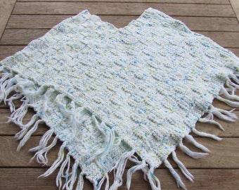 Simple Casual White Knit Poncho with Light Fringe