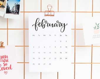 Any Month Wall Calendar 2021, A5 Size, With Office Clip, Academic Wall Planer, Sunday or Monday start, Desk Calendar, Home Office Calendar