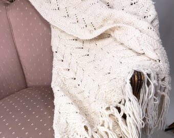 Vintage Handmade Cable Knit White Blanket