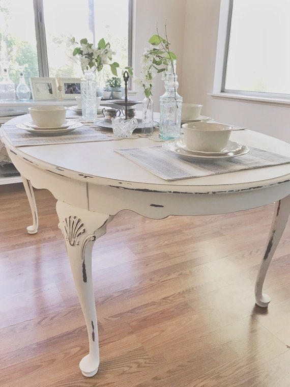Antique Table Shabby Chic Dining Painted Furniture White   Etsy