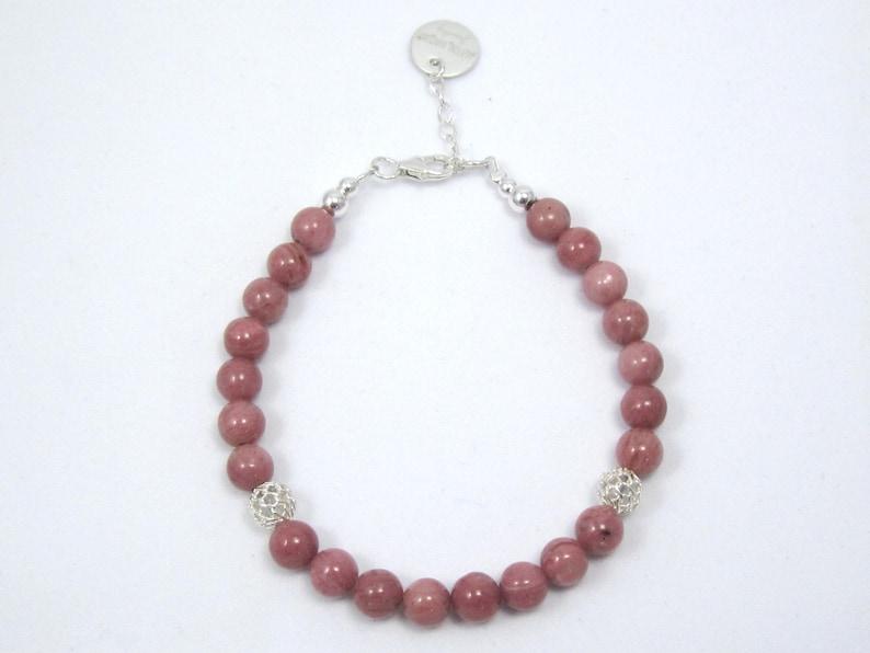emotion shield stone Rhodonite and silver confidence gemstone Mindfulness gift Valentine/'s day Rhodonite gemstones bracelet