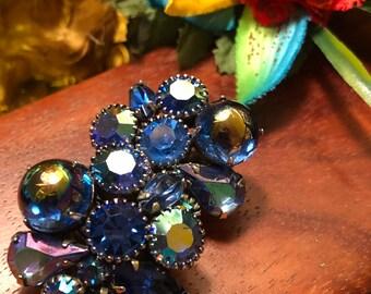 Vintage Kramer Blue rhinestone clip-on