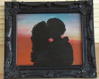 Original painting, canvas panel, Sunset Kiss, room décor, romance, orange wall décor, lovers, kissing, shadow