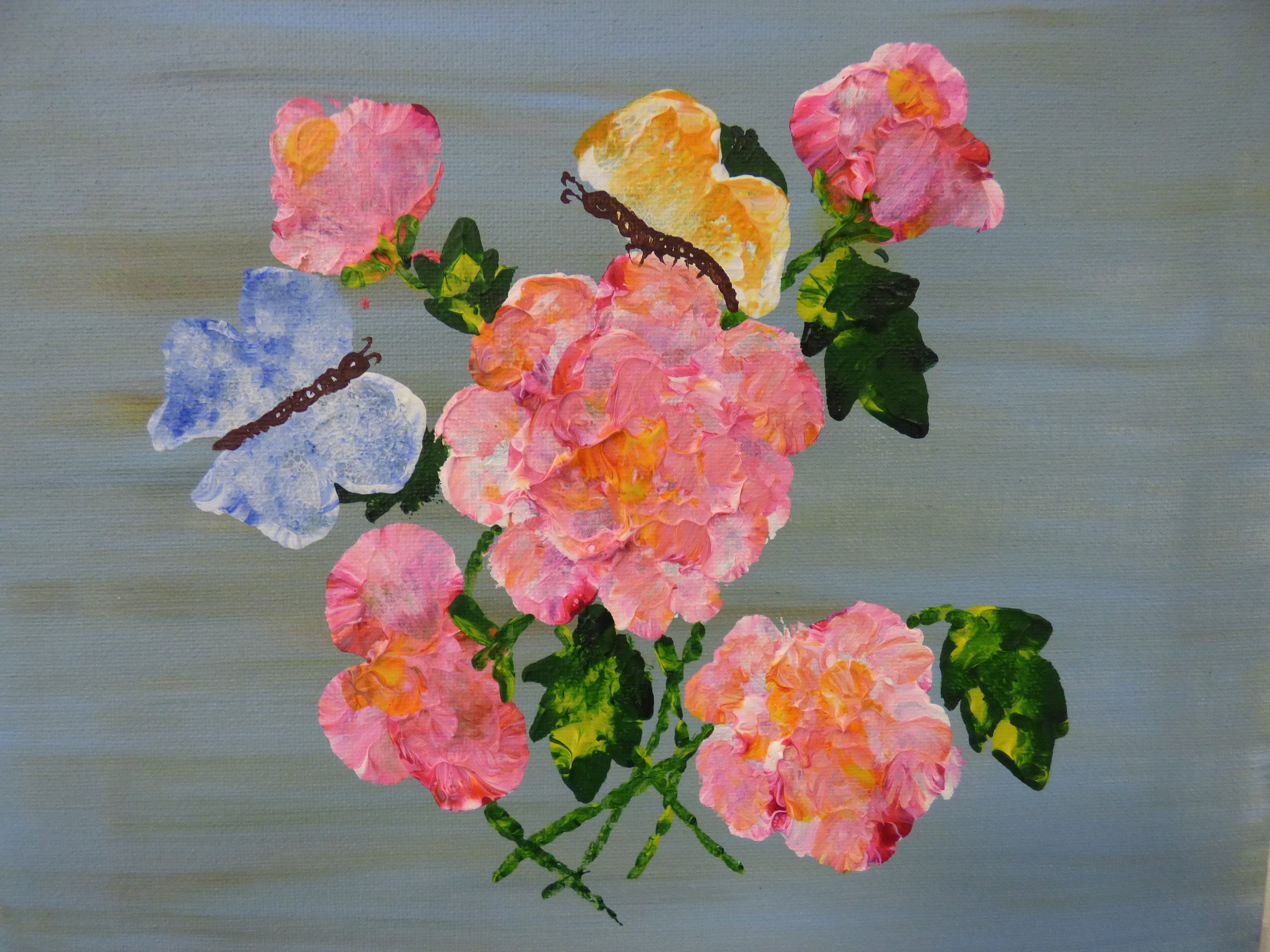 Spring Painting Pink Flowers Butterflies Unstretched Canvas