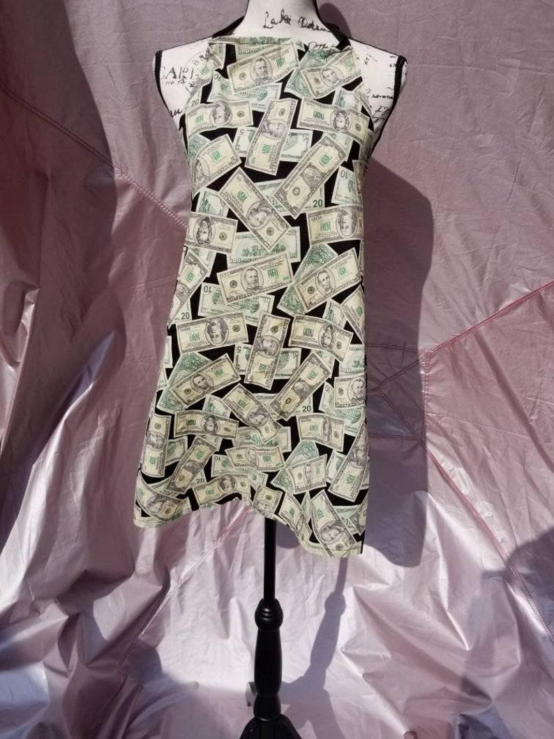 Adult Money Apron ~ Dollar bill print Apron ~ Fun Apron ~ One size Apron ~ Fun Print Aprons ~ Unisex Apron