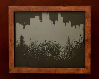 Etched Glass Minneapolis Skyline