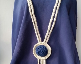 Navy white crochet necklace, gift for her
