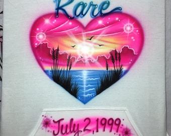 Airbrush T-shirt - Selena Gomez Inspired - Beach Scene - Birth Date