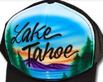 edd62994b46 Airbrushed Trucker Hat  Lake Tahoe  Mountain Lake