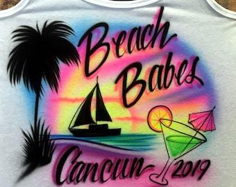 Airbrushed T-Shirt - Beach Babes - * Sailboat * Your Name * You Choose Color