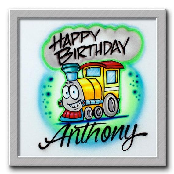 Airbrush T Shirt Happy Birthday Train