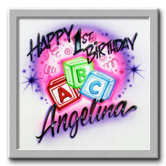 Airbrush T Shirt Happy Birthday ABC