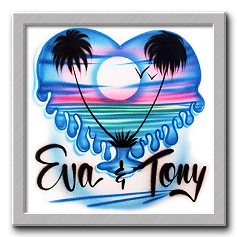 2e33265a Airbrush T-shirt Drippy Beach Scene Airbrushed T-Shirt | Etsy
