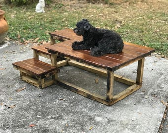 Custom sized dog stairs - Model B Stair with Deck