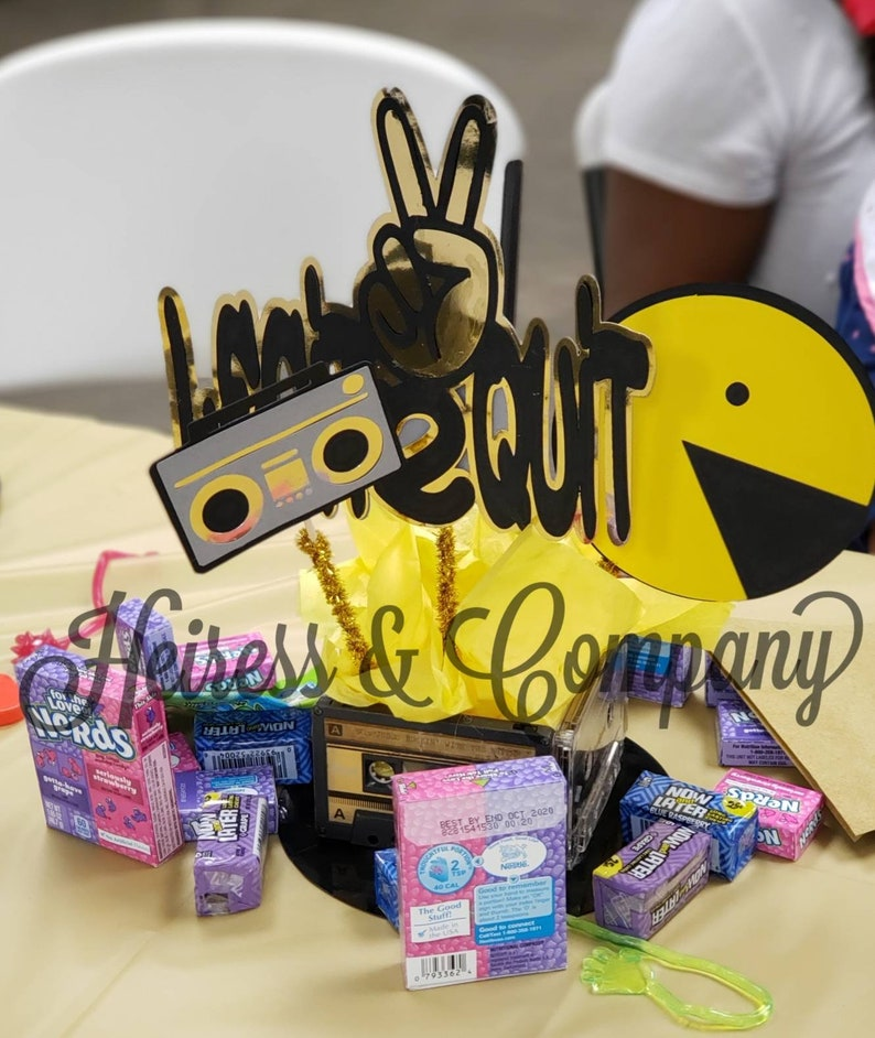 Two legit to quit birthday centerpieces sticks peace sign 2nd birthday party cutouts pacman hip hop two fingers Boombox
