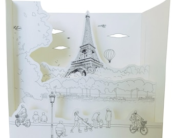 coloring book pop up - PARIS the Seine edges