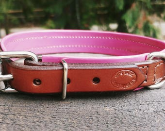 Pet Collar- Chestnut Brown Leather with Pink Vinyl