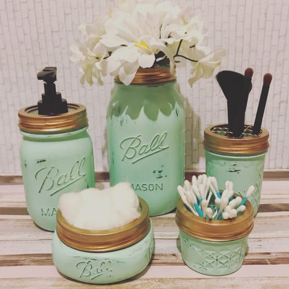 Bathroom Art Minted: Mint Bathroom Decor Mint Mason Jar Mason Jar Bath Set Mint