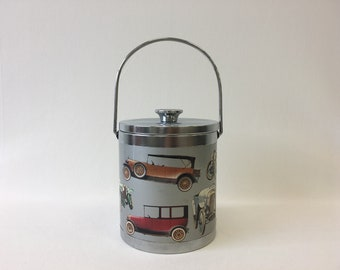 Vintage ice bucket with chrome lid, Illustration of antique cars, Retro barware and bar accessory, Ice bucket for picnic