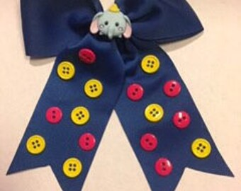Dumbo Elephant Buttons Bow Clip