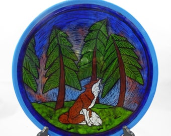Fused Glass - Red Fox in the Forrest Platter