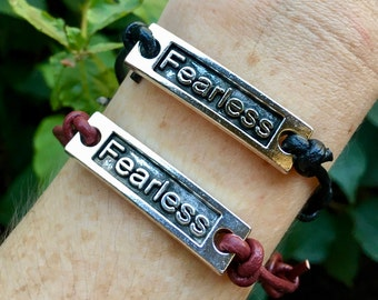 Leather Bracelet, Fearless Charm, Adjustable Bracelet, Simple, Handmade, Friendship, Gifts, Black, Red