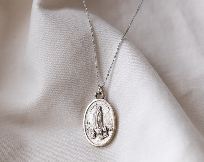 Lady Fatima Amulet on White Gold filled chain